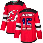 Wholesale Cheap Adidas Devils #15 Jamie Langenbrunner Red Home Authentic USA Flag Stitched NHL Jersey