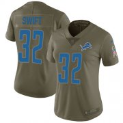 Wholesale Cheap Nike Lions #32 D'Andre Swift Olive Women's Stitched NFL Limited 2017 Salute To Service Jersey