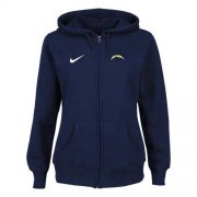Wholesale Cheap Nike San Diego Chargers Ladies Tailgater Full Zip Hoodie Blue