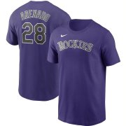 Wholesale Cheap Colorado Rockies #28 Nolan Arenado Nike Name & Number T-Shirt Purple
