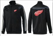Wholesale NHL Detroit Red Wings Zip Jackets Black-2