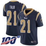 Wholesale Cheap Nike Rams #21 Aqib Talib Navy Blue Team Color Men's Stitched NFL 100th Season Vapor Limited Jersey