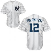 Wholesale Cheap Yankees #12 Troy Tulowitzki White Cool Base Stitched Youth MLB Jersey