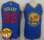 Wholesale Cheap Men's Warriors #35 Kevin Durant Blue Red No. Fashion 2017 The Finals Patch Stitched NBA Jersey