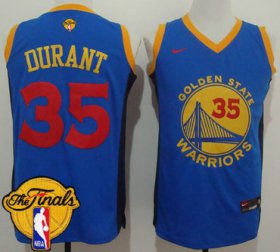 Wholesale Cheap Men\'s Warriors #35 Kevin Durant Blue Red No. Fashion 2017 The Finals Patch Stitched NBA Jersey
