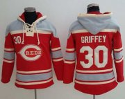 Wholesale Cheap Reds #30 Ken Griffey Red Sawyer Hooded Sweatshirt MLB Hoodie