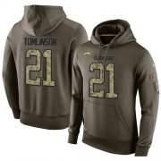 Wholesale Cheap NFL Men's Nike Los Angeles Chargers #21 LaDainian Tomlinson Stitched Green Olive Salute To Service KO Performance Hoodie