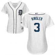 Wholesale Cheap Tigers #3 Ian Kinsler White Home Women's Stitched MLB Jersey