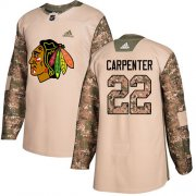 Wholesale Cheap Adidas Blackhawks #22 Ryan Carpenter Camo Authentic 2017 Veterans Day Stitched Youth NHL Jersey