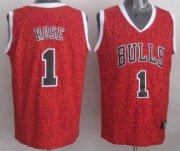 Wholesale Cheap Chicago Bulls #1 Derrick Rose Red Leopard Print Fashion Jersey