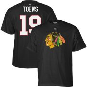 Wholesale Cheap Chicago Blackhawks #19 Jonathan Toews Reebok Name and Number Player T-Shirt Black