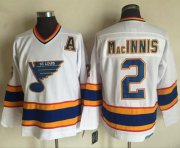 Wholesale Cheap Blues #2 Al MacInnis White/Yellow CCM Throwback Stitched NHL Jersey