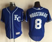 Wholesale Royals #8 Mike Moustakas Royal Blue Flexbase Authentic Collection Stitched Baseball Jersey