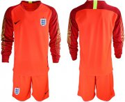 Wholesale Cheap England Blank Red Long Sleeves Goalkeeper Soccer Country Jersey