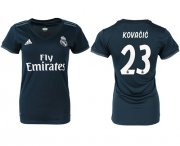Wholesale Cheap Women's Real Madrid #23 Kovacic Away Soccer Club Jersey
