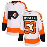 Wholesale Cheap Adidas Flyers #53 Shayne Gostisbehere White Road Authentic Stitched NHL Jersey