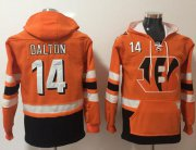 Wholesale Cheap Nike Bengals #14 Andy Dalton Orange/Black Name & Number Pullover NFL Hoodie