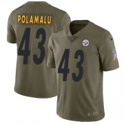 Wholesale Cheap Nike Steelers #43 Troy Polamalu Olive Youth Stitched NFL Limited 2017 Salute to Service Jersey