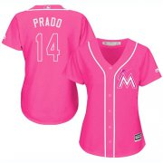 Wholesale Cheap Marlins #14 Martin Prado Pink Fashion Women's Stitched MLB Jersey