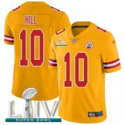 Wholesale Cheap Nike Chiefs #10 Tyreek Hill Gold Super Bowl LIV 2020 Youth Stitched NFL Limited Inverted Legend Jersey