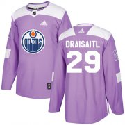 Wholesale Cheap Adidas Oilers #29 Leon Draisaitl Purple Authentic Fights Cancer Stitched NHL Jersey