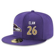Wholesale Cheap Baltimore Ravens #26 Matt Elam Snapback Cap NFL Player Purple with Gold Number Stitched Hat