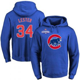 Wholesale Cheap Cubs #34 Jon Lester Blue 2016 World Series Champions Primary Logo Pullover MLB Hoodie