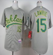 Wholesale Cheap Athletics #15 Brett Lawrie Grey Cool Base Stitched MLB Jersey