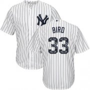 Wholesale Cheap Yankees #33 Greg Bird White Strip Team Logo Fashion Stitched MLB Jersey