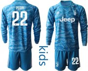 Wholesale Cheap Juventus #22 Perin Light Blue Goalkeeper Long Sleeves Kid Soccer Club Jersey