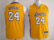 Cheap Los Angeles Lakers #24 Kobe Bryant Yellow Kid Jersey