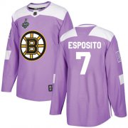 Wholesale Cheap Adidas Bruins #7 Phil Esposito Purple Authentic Fights Cancer Stanley Cup Final Bound Stitched NHL Jersey