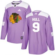 Wholesale Cheap Adidas Blackhawks #9 Bobby Hull Purple Authentic Fights Cancer Stitched Youth NHL Jersey