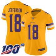 Wholesale Cheap Nike Vikings #18 Justin Jefferson Gold Women's Stitched NFL Limited Inverted Legend 100th Season Jersey