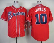 Wholesale Cheap Braves #10 Chipper Jones Red Stitched MLB Jersey