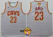 Wholesale Cheap Men's Cleveland Cavaliers #23 LeBron James 2017 The NBA Finals Patch Gray Jersey