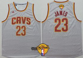 Wholesale Cheap Men\'s Cleveland Cavaliers #23 LeBron James 2017 The NBA Finals Patch Gray Jersey