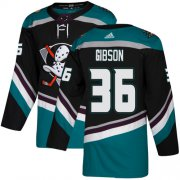 Wholesale Cheap Adidas Ducks #36 John Gibson Black/Teal Alternate Authentic Youth Stitched NHL Jersey