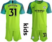 Wholesale Cheap Manchester City #31 Ederson Shiny Green Goalkeeper Kid Soccer Club Jersey