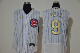 Wholesale Cheap Men\'s Chicago Cubs #9 Javier Baez White Gold 2020 Cool and Refreshing Sleeveless Fan Stitched Flex Nike Jersey