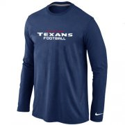 Wholesale Cheap Nike Houston Texans Authentic Font Long Sleeve T-Shirt Dark Blue