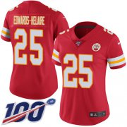 Wholesale Cheap Nike Chiefs #25 Clyde Edwards-Helaire Red Team Color Women's Stitched NFL 100th Season Vapor Untouchable Limited Jersey