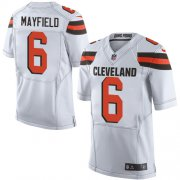 Wholesale Cheap Nike Browns #6 Baker Mayfield White Men's Stitched NFL Elite Jersey