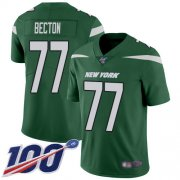 Wholesale Cheap Nike Jets #77 Mekhi Becton Green Team Color Men's Stitched NFL 100th Season Vapor Untouchable Limited Jersey