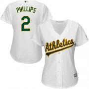 Wholesale Cheap Athletics #2 Tony Phillips White Home Women's Stitched MLB Jersey