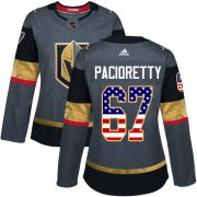 Wholesale Cheap Adidas Golden Knights #67 Max Pacioretty Grey Home Authentic USA Flag Women's Stitched NHL Jersey