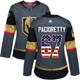 Wholesale Cheap Adidas Golden Knights #67 Max Pacioretty Grey Home Authentic USA Flag Women\'s Stitched NHL Jersey