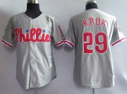 Wholesale Mitchell and Ness Phillies #29 John Kruk Grey Stitched Throwback Baseball Jersey