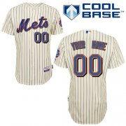 Wholesale Cheap Mets Personalized Authentic Cream Blue Strip 2010 Cool Base MLB Jersey (S-3XL)