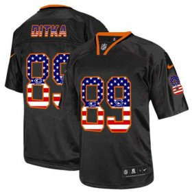 Wholesale Cheap Nike Bears #89 Mike Ditka Black Men\'s Stitched NFL Elite USA Flag Fashion Jersey